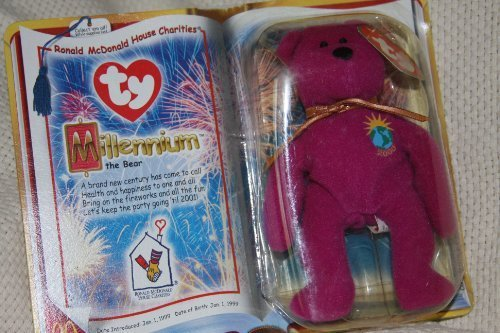 Ty Teenie Beanie Babies 2000 - Millennium the Fushia Bear (RMHC) by Ty