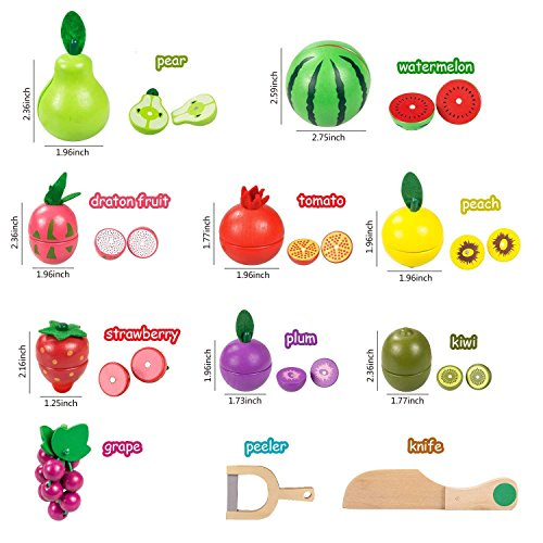 Elover Cutting Food Fruit Set Wooden Pretend Play Food Toys with Basket Kitchen Accessory Baby Toys for Kids Toys for 3 years old Boys Girls