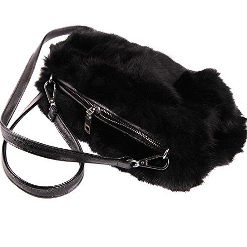 URSFUR Modische Handwärmer aus Echte Kaninchen Fell Tasche Schulranzen Umhängetasche Geldbörse Pelzmuff Handschuh Mufftasche - schwarz