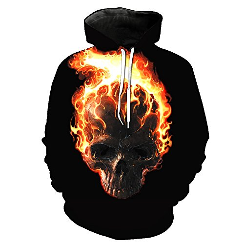 Pullover Hoodies Männer Frauen 3D Flaming Skull Print Unisex Paar Langarm Sweatshirts Uniform Jumper Outdoor Freizeit S-3XL Flaming Skull Sweatshirt