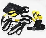 icase4u P3-3 Entrenamiento en suspensión Profesional Cuerdas Correas de Suspensión Ajustable para Ejercicios Fitness Crossfit Body Trainer Suspension Capacidad Límite hasta 200kg (Amarillo)