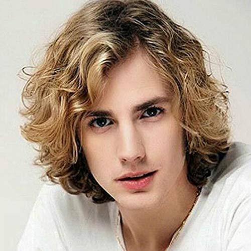 Herren Perücke Gradient Braun Kurze lockige Haarteil für Prom