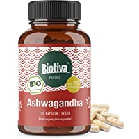 Ashwagandha Kapseln (BIO, 150 Stück) - min. 5% Withanolide - 500mg je Kapsel - indische Ayurveda-Lehre - Garantiert ohne Zusätze - Höchste Reinheit - Hergestellt und kontrolliert in Deutschland (DE-ÖKO-005) - 100% Vegan