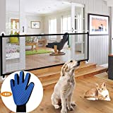 Magic Dog Safety Gate - Pet Safety Net, Portable Folding Enclosure Pet Isolation Net Child Safety Gates Guard Install Anywhere,for Kitchen/Upstairs/Indoor 180 x 72cm (Dog Net + Right Glove)