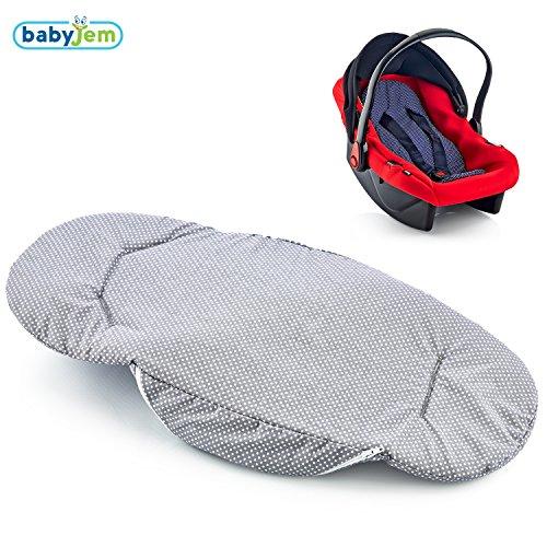BABYJEM Sitzeinlage für Babyschale Kindersitz Einlage Sitzauflage Sitzverkleinerer Maxi Cosi Autokindersitz 100% Baumwolle Abnehmbarer Bezug Waschmaschinenfest (Grau)