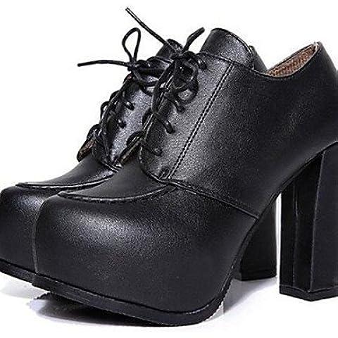 LFNLYX Scarpe Donna-Scarpe col tacco-Ufficio e lavoro / Formale-Tacchi-Quadrato-Finta pelle-Nero / Beige , black , us5.5 / eu36 / uk3.5 / cn35