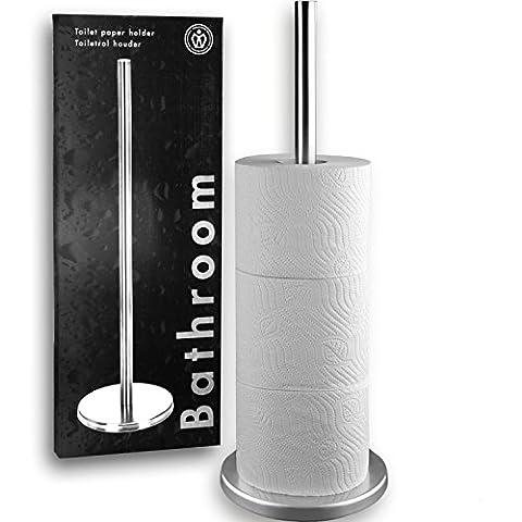 Stainless Steel Bathroom Freestanding Toilet Paper Tissue Roll Holder Storage