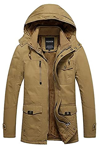 Menschwear Men's Down Coats Hooded Fleece Lined Winter Warm Outwear (XL, Khaki)