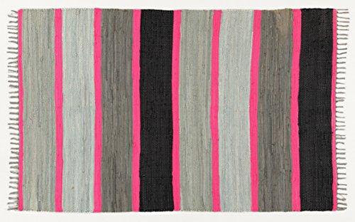 Viva Neon Fleckerl Tappeto, Cotone, Grigio/Rosa, 120x180x2.16 cm