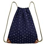 Turnbeutel Rucksack Segeltuch, Sportbeutel Tasche Rucksack Canvas mit Reißverschlusstasche für Damen Mädchen-KiiMoo (Dunkelblau)