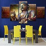 Wiwhy (Kein Rahmen) Leinwandbilder Wandkunstausgangsdekor 5 Stücke Buddha Meditation Gemälde Hd Drucke Buddha Statue Poster Wohnzimmer Arbeit