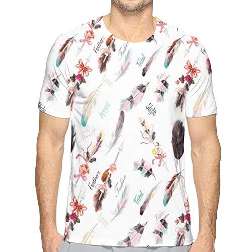 3D gedruckte T-Shirts, ethnische Mode-Illustrations-Federn mit Blumendetails und Band-Weinlese-Art (Mode-illustration Textilien)