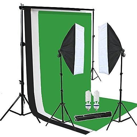 2x 50x70cm softbox continua Iluminación Kit para estudio fotográfico Soporte de Fondo con 3*fondos de la tela Muselina algodón (blanco,negro,verde) Sistema de
