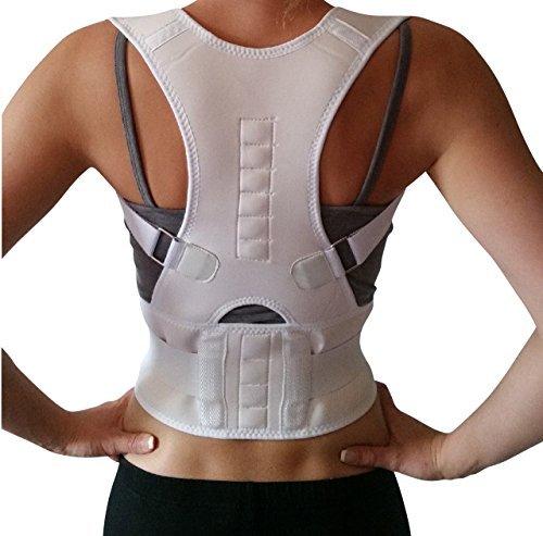 AGIA TEX Geradehalter für Rücken Schulter Haltungskorrektur Rückenstabilisator Wirbelsäule für Damen und Herren Neopren Schulterträger verstellbar atmungsaktiv M Weiß