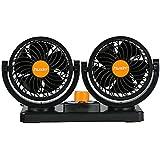 FREESOO Mini Ventilador 24 V ventilador Doble Cabezal 360 grados Giratorio 2 de velocidad con 2M cable y 3M pegatinas Silencioso para camiones