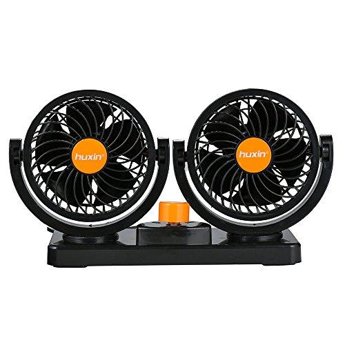 FREESOO Mini Ventilador 24 V ventilador Doble Cabezal 360 grados Giratorio 2...