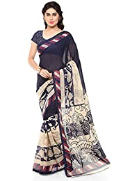Kashvi Sarees Women's Faux Georgette Printed Saree With Blouse Piece - 1134_2_Beige And Black_Free Size