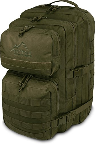 normani Kabinenrucksack geeignet als Handgepäck im Flugzeug, großer Reiserucksack mit 45 Litern Fassungsvermögen Farbe Oliv