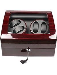 Luxueux remonteur de montre automatique avec vitrine Boîte de rangement de 4+ 6montres En cuir Fonction minuteur 4 modes Serrure de sécurité et clé