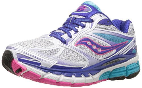 Saucony Women's Guide 8 Running Shoe,White/Twilight/Pink,6.5 N US