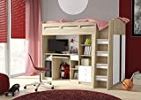 Combi Mid High Sleeper Storage Bunk Bed with Desk Wardrobe and Shelving (P5DS1T03) by furniturefactor