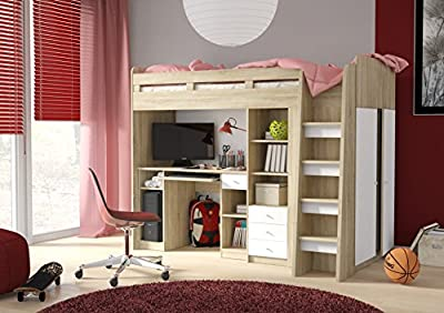Combi Mid High Sleeper Storage Bunk Bed with Desk Wardrobe and Shelving (P5DS1T03) by furniturefactor - low-cost UK Bunkbed store.