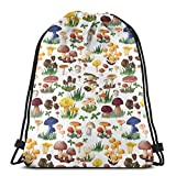 Jiger Drawstring Tote Bag Gym Bags Storage Backpack, Pattern with Types of Mushrooms Wild Species Organic Natural Food Garden Theme,Very Strong Premium Quality Gym Bag for Adults & Children