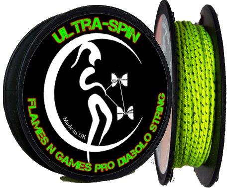 Flames N Games ULTRA-SPIN Pro Diaboloschnur (UV Gelb) 10m Profi Diabolo Schnur!