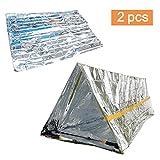Amaoma 2 Stück (Rettungsdecken + Notfallzelt), Outdoor Erste Hilfe Outdoor Decken Rettungsdecke, Decken Einfache Zelte Sonnenschutzdecken Survival Set mit Notfall Zelt und Folien Schlafsack (Silber)