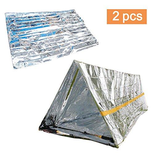 Amaoma 2 Stück (Rettungsdecken + Notfallzelt), Outdoor Erste Hilfe, Outdoor Decken, Multifunktional Rettungsdecke, Decken, Einfache Zelte, Sonnenschutzdecken, Survival Set mit Notfall Zelt und Folien Schlafsack (Silber)