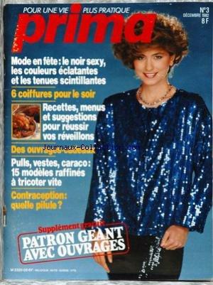 PRIMA [No 3] du 01/12/1982 - LE NOIR SEXY - 6 COIFFURES POUR LE SOIR - RECETTES - CONTRACEPTION - PILULE.