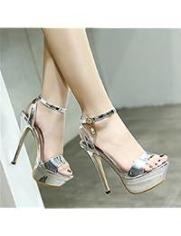 SHINIK Scarpe da donna scintillanti glitter PU estate autunno comfort sandali novità tacco a spillo tacco a punta fibbia per la festa di…