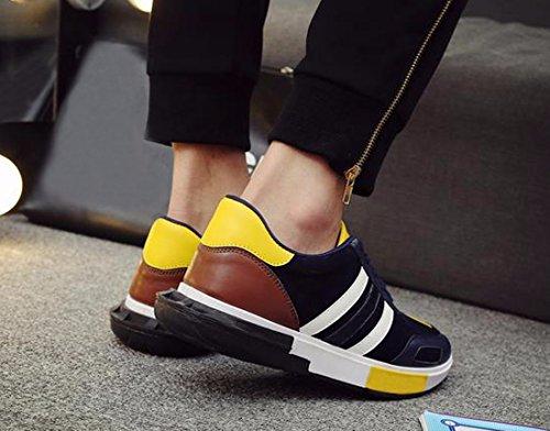QIYUN.Z Les Hommes De Plein Air De La Dentelle En Courant Chaussures Sport Baskets Mode Casual Chaussures De Skate Bleu Profond