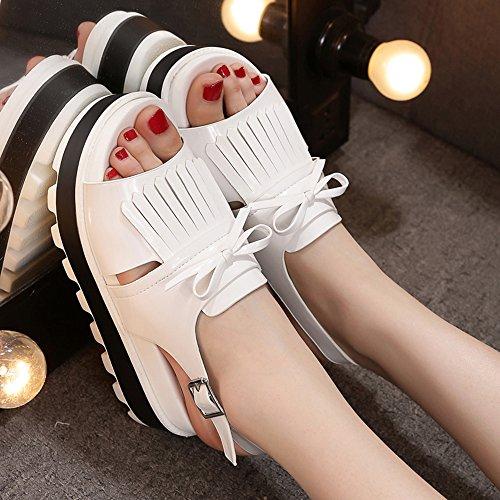 Estate Sandali Scarpe da donna Pantofole Flat Heels Flat Pantofole Outdoor Black / White Colore / formato facoltativo Bianca
