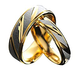2 pieces Couples Rings for Men Women Gold Wedding Bands Engagement Anniversary LoversALRG0086GO