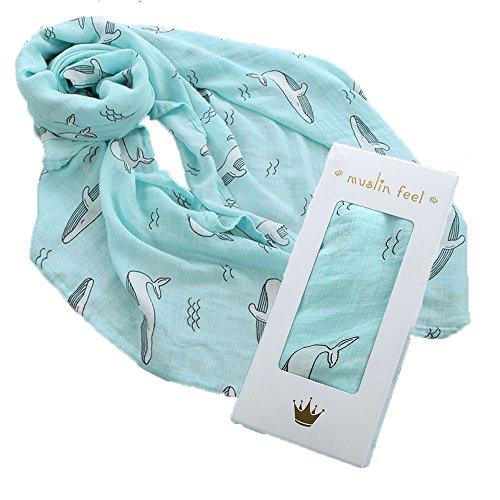 OHBABYKA Baby Musselin Swaddle Decke Tücher- 115x115 cm Feder Design Baby Bambus Baumwolle Swaddle Wrap ▪ Junge & Mädchen ▪ Baby Mulltücher, Stoffwindeln (BSW10)