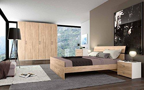 Camera in legno quercia e bianco graffiato completo di armadio 6 ante 240x53-236h - comò 3 cassetti 99x45-71h - comodini 2 cassetti 48,5x36-42h - specchio 78x2-58,5h - letto 166x201-83h (con rete a doghe 160x190)