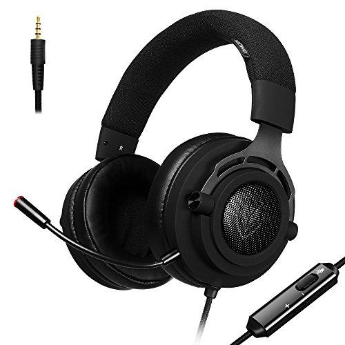 Ps4gaming headset con fascia in tessuto traspirante, 1,6m cavo, controllo volume e microfono, xbox one pc cuffie stereo, in-line noise cancelling per pc, laptop, mac, nintendo interruttore-3.5mm nero nero nero  n9d - 3.5mm