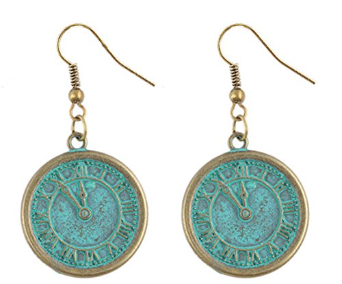 saysure-accessories-classic-clock-round-earrings-bronze
