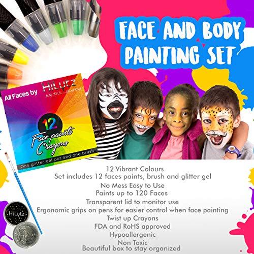 Pintura de cara, para niños, 12 vibrantes pinturas de calidad cosmética profesional, 85 aplicaciones en cada cera, gel de purpurina + cepillo, base de agua, perfecto regalo de cumpleaños o Navidad