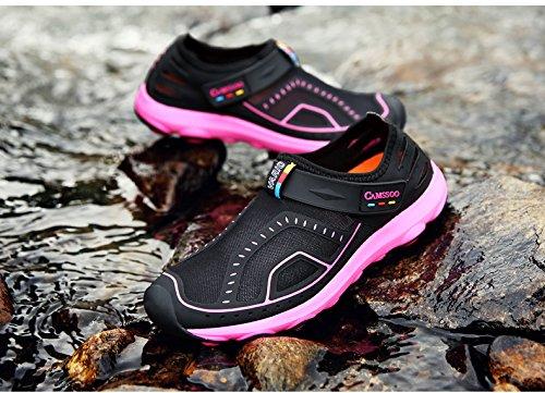 Outdoor Wasserschuhe Klettverschluss Elastisch Mesh Rutschfeste Sohle Sneaker Aqua Trekking Wander Schuhe Damen Herren Schwarz