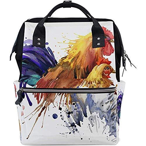 KW-Wosn Zaino per pannolini di pollo gallo dell'acquerello Zaini per bambini di grande capacità Zaini da viaggio casual con cerniera multifunzione