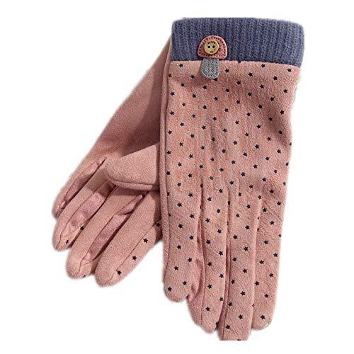 Jacquard-schnalle (JunBo Koreanische Version des warmen Touchscreen-Handschuhe aus Holz Schnalle Pilz Jacquard samt Handschuhe)