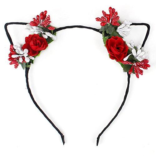 Laat-Diadema de encaje de orejas de gato y flores, accesorio para el cabello, mujer, rojo, 30 x 5cm