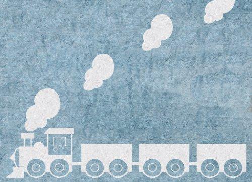 Alfombra Infantil lavable en lavadora Colección Tren Celeste 120x160 cms