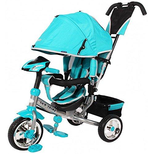 Baby-pur Lux Trike Dreirad Kinderdreirad mit Sonnen- und Regendach und Schub- und Lenkvorrichtung Tricycle