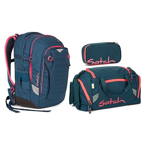 Satch Match - 3tlg. Set Schulrucksack - Farbauswahl - Rucksack+Sporttasche+Schlamperbox (Satch Match Pink Phantom Schulrucksack Set 3tlg.)