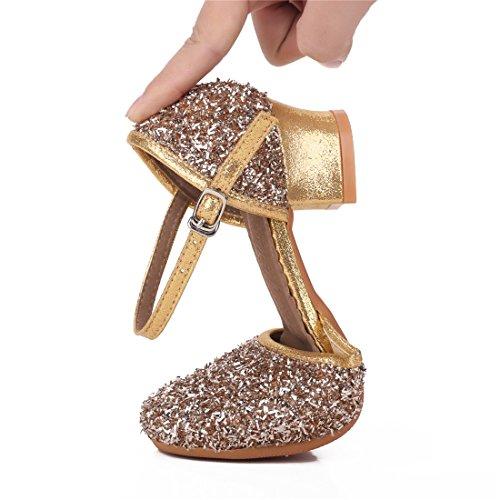 Cool&D Mädchen Tanzschuhe Prinzessin Schuhe Kinder Latein Schuhe mit Weiche Sohlen 28-38 Golden