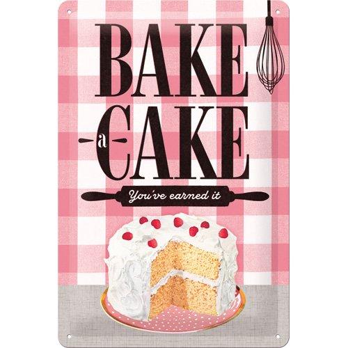 Nostalgic Art 22262Home e Country Bake a Cake, Targa in metallo 20x 30cm metallo, Multicolore, 20x 30x 0.2cm