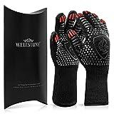 WELLSTONE® Premium Grillhandschuhe hitzebeständig bis 500 °C - 36cm extra lang hochwertige Kochhandschuhe Backhandschuhe für BBQ Kochen Backen Universalgröße